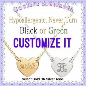 Jewelry - ⭐️🆕Custom Engraved Heart Necklace⭐️Gold OR Silver